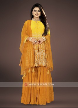 Yellow & Mustard color Gharara Suit with dupatta