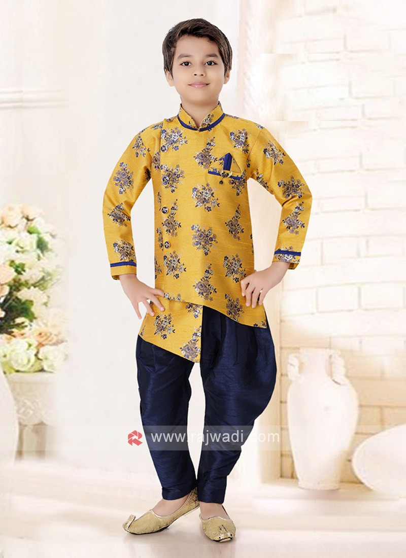 Yellow & Navy Indo Western For Boys