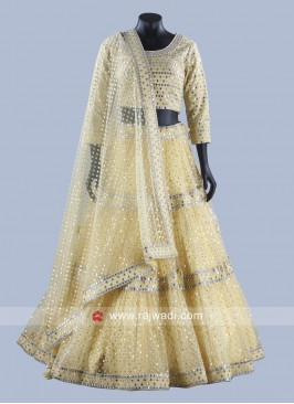 Yellow Net Lehenga Set with Dupatta