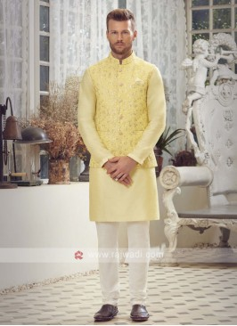 Yellow & Off White Nehru Jacket Suit