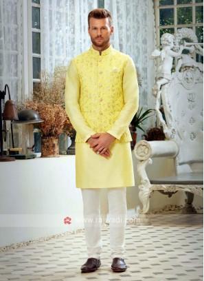 Yellow & Off White Nehru Jacket Suit