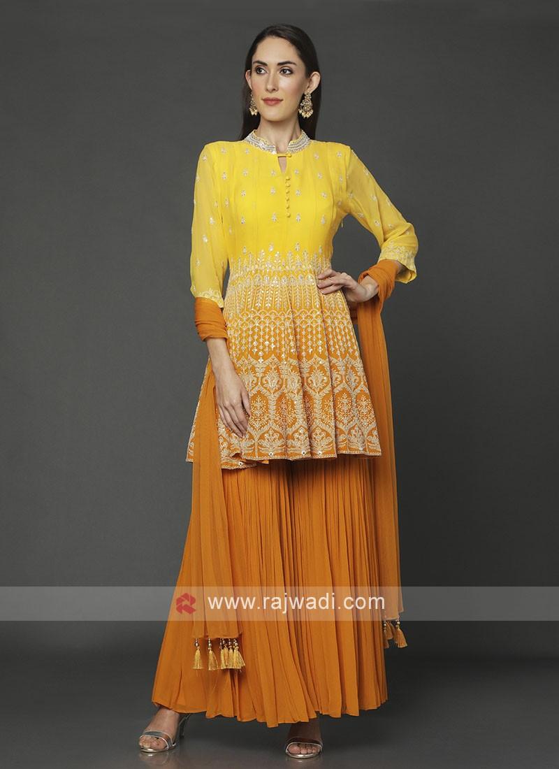 Yellow & Orange Shaded Gharara Suit