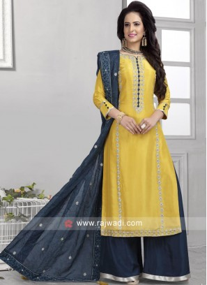 Yellow Palazzo Suit with Buttons