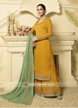 Yellow Palazzo Suit with Contrast Dupatta