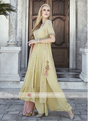 Yellow Palazzo Suit with Peach Dupatta