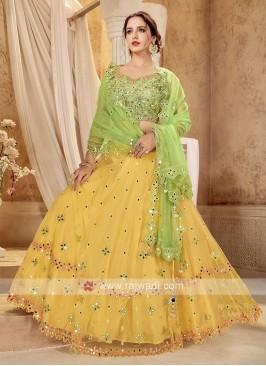 Yellow & Parrot Green Lehenga Choli