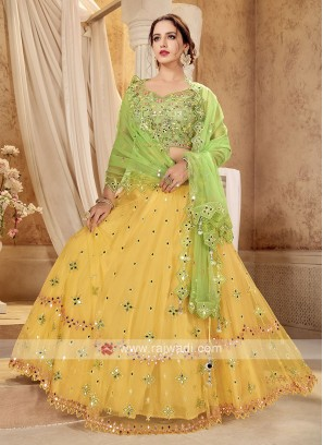 Yellow & Parrot Green Lehenga Choli