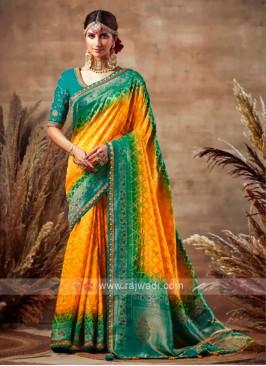 Yellow & Peacock Blue Bandhani Saree
