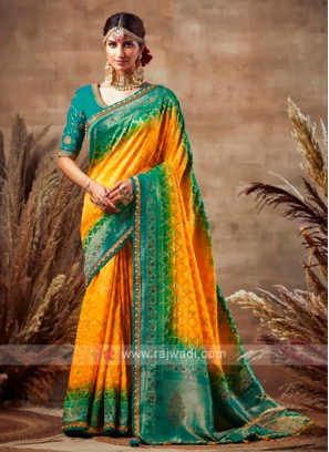 Yellow & Peacock Blue Bandhani Saree