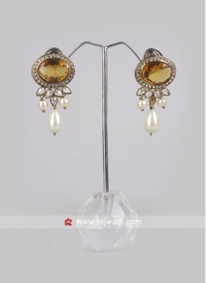 Yellow Pearl and Stone Earrings
