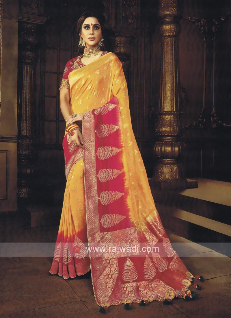 Yellow & Pink Shaded Saree
