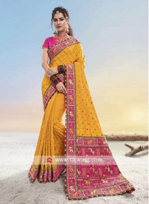 Yellow & Pink Silk saree
