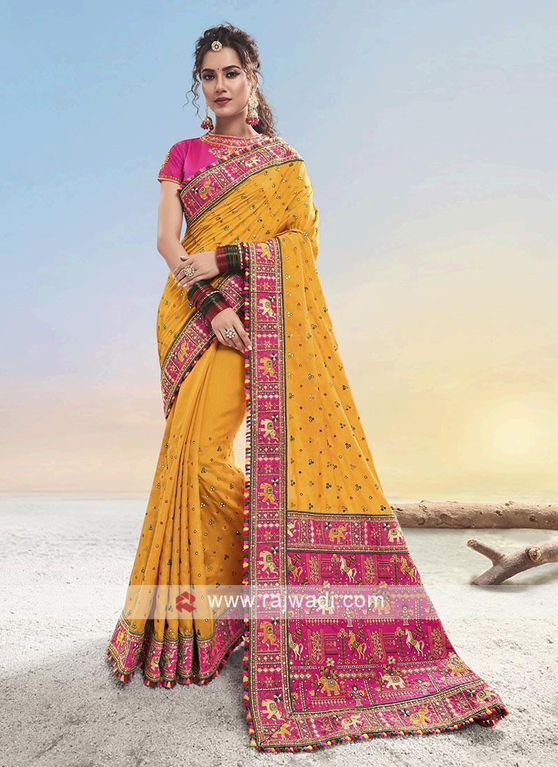 Yellow & Pink Silk saree