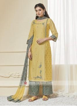 Shagufta Yellow & Pista Green Palazzo Salwar Suit