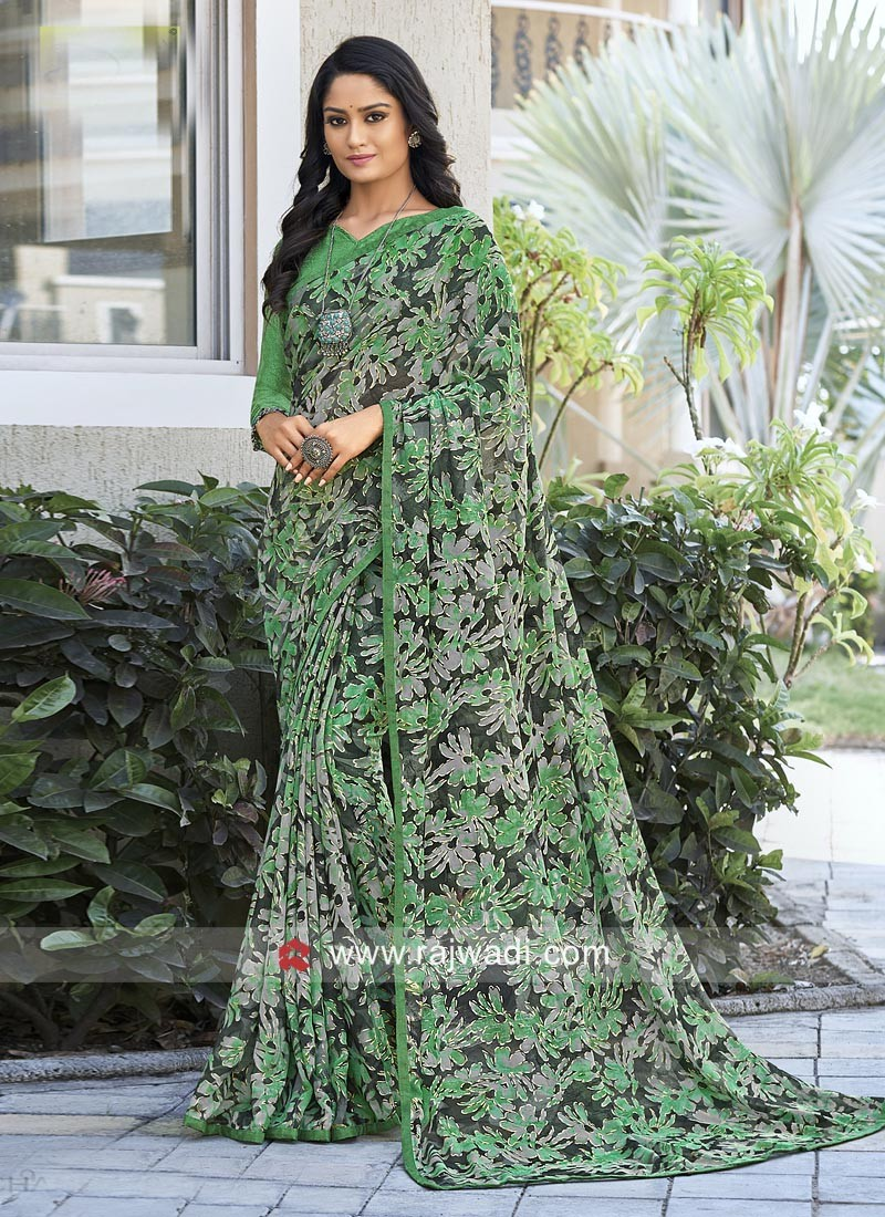 Printed Sari with Plain Blouse