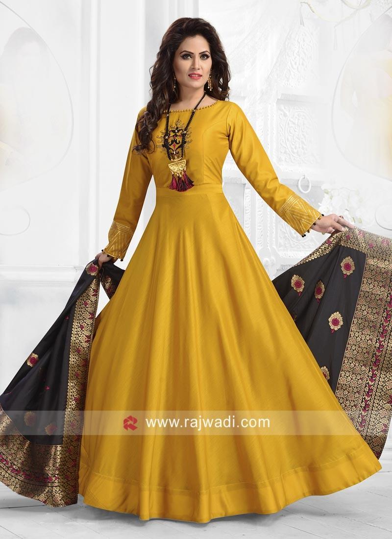 Yellow Rayon Silk Anarkali Dress with Dupatta