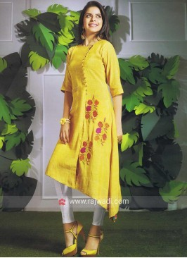Yellow Rayon Silk Asymmetric Kurti