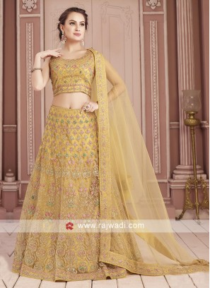 Yellow Readymade Choli Suit For Wedding