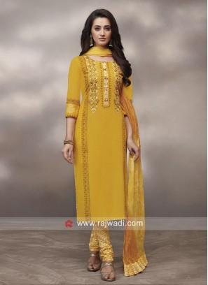 Yellow Resham Work Churidar Suit