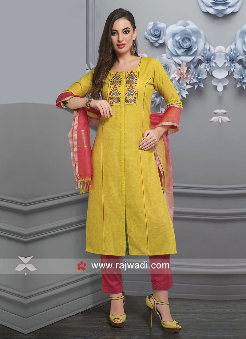 Yellow Resham Work Salwar Suit