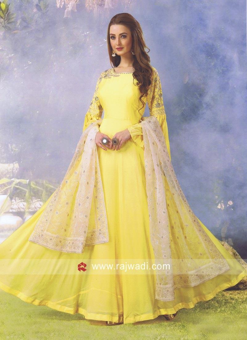 Yellow Resham Work Shimmer Silk Anarkali Dress