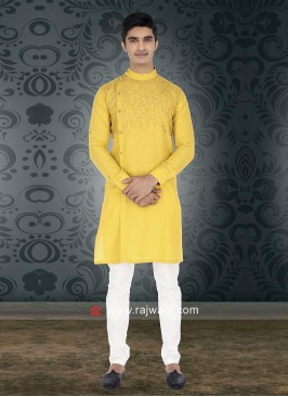 Yellow Round Neck Kurta Set