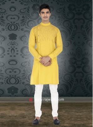 Yellow Round Neck Kurta Set