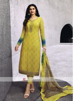 Yellow Salwar Kameez With Zari Work