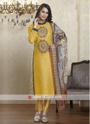 Yellow salwar suit with multi color dupatta