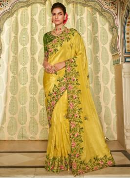 Yellow Sangeet Fancy Fabric Traditional Designer Saree