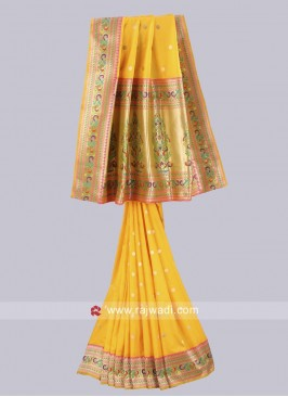 Yellow Saree with Contrast Blouse