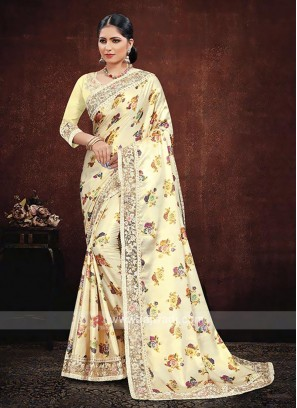 Yellow Satin Silk Saree