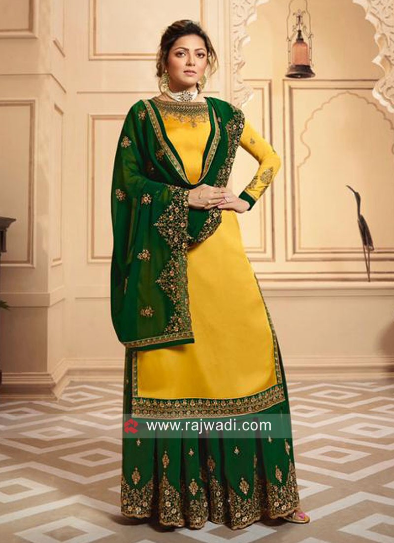 Yellow Satin Suit with Green Dupatta