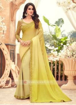 Yellow Shaded Chiffon Saree