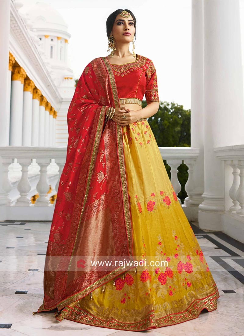 Yellow Shaded Lehenga with Dupatta