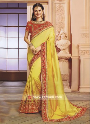 Yellow Shaded Wedding Saree