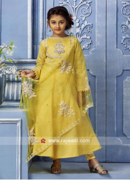 Yellow Silk Anarkali Dress for Girls
