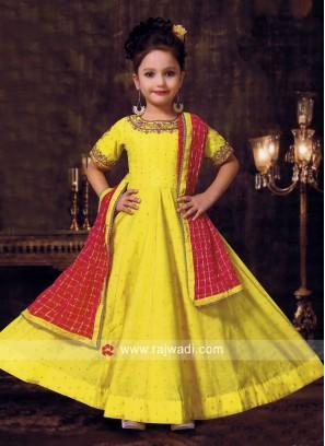 Yellow Silk Anarkali Salwar Kameez