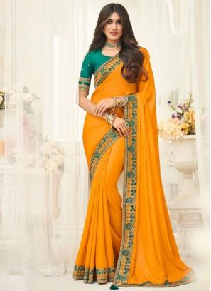 Yellow Silk Embroidered Classic Saree