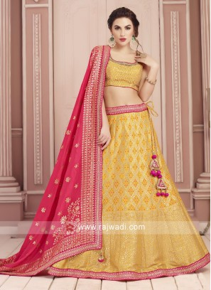 Yellow Silk Fabric Choli Suit For Wedding