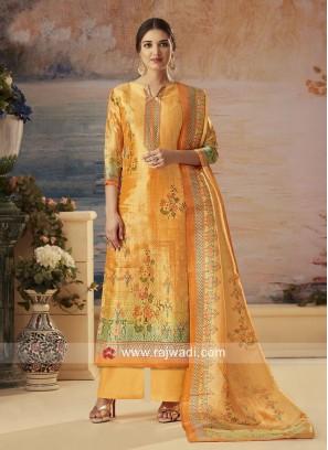 Yellow Silk Palazzo Suit