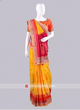 Yellow Silk Patola Sari with Blouse