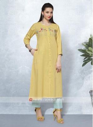 Yellow & Turquoise Kurta Set