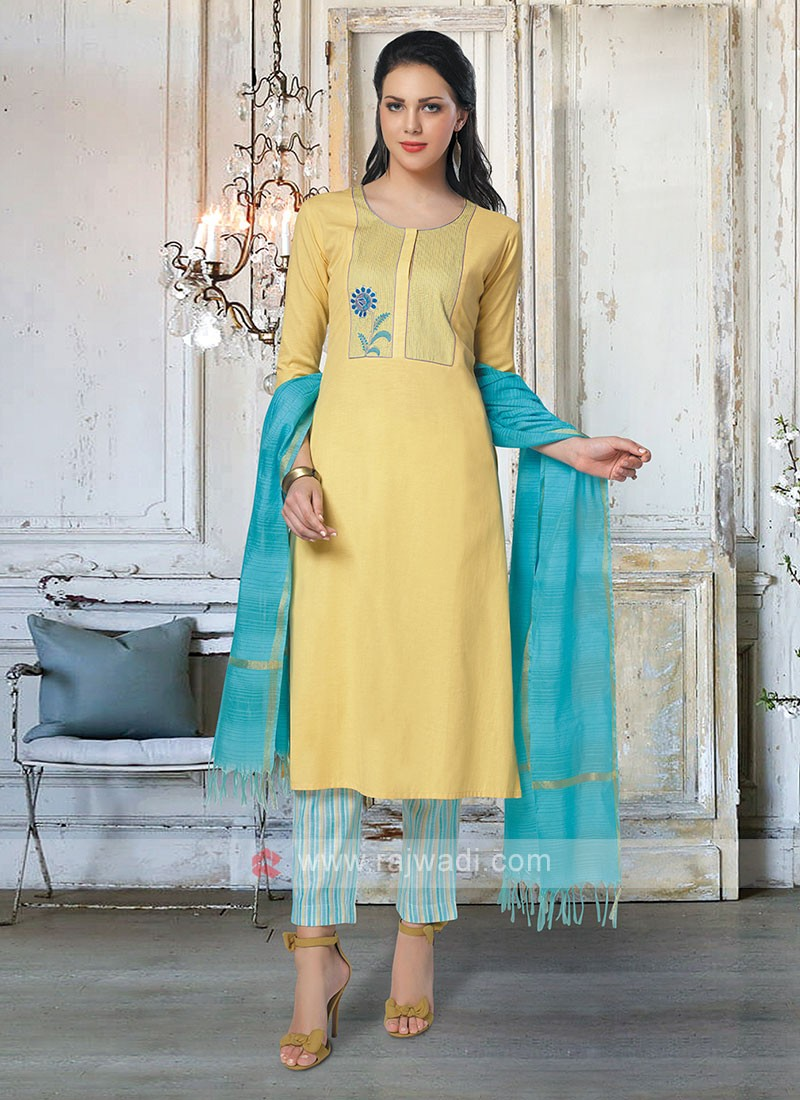 Yellow & Sky Blue Pant Style Suit With Dupatta