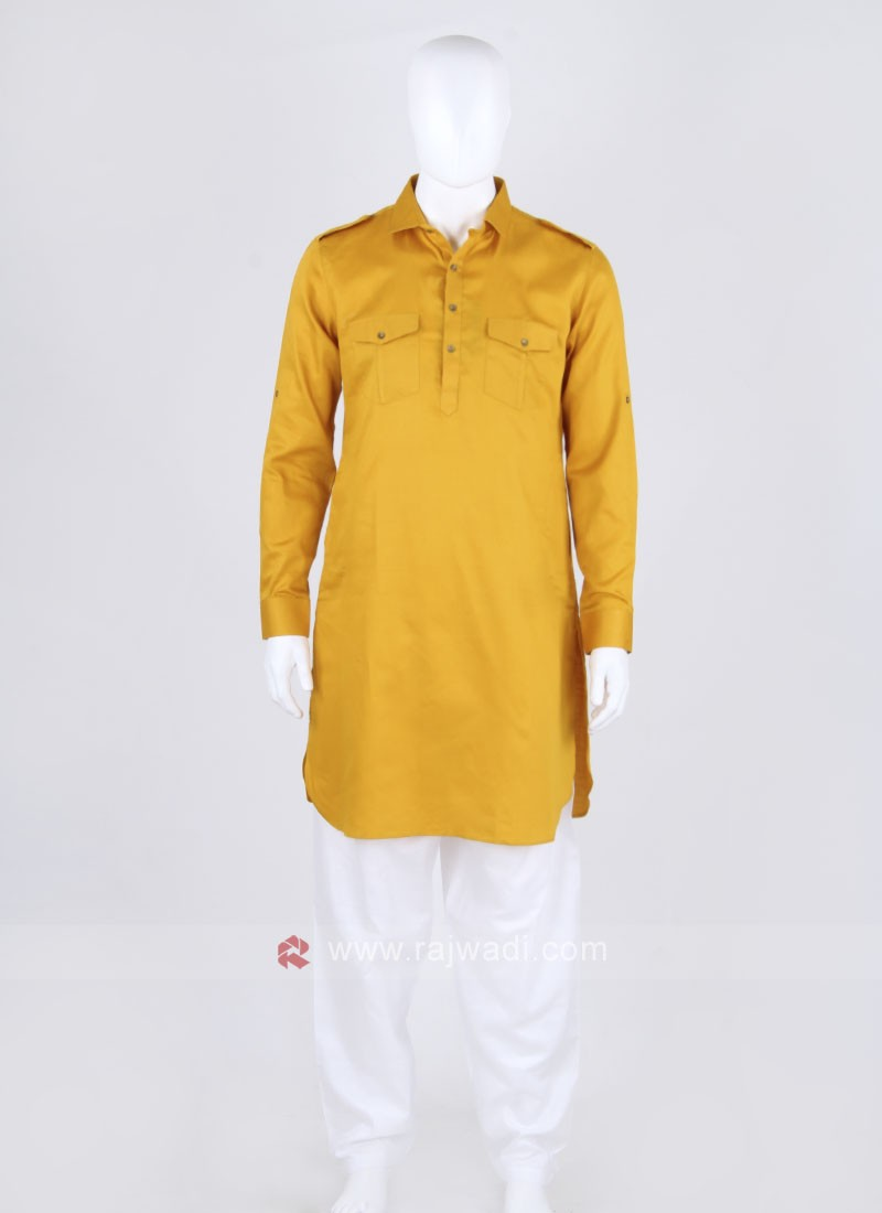 Yellow Solid Pathani Suit