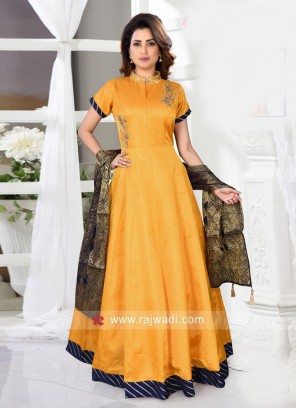 Yellow Stand Collar Anarkali with Blue Dupatta