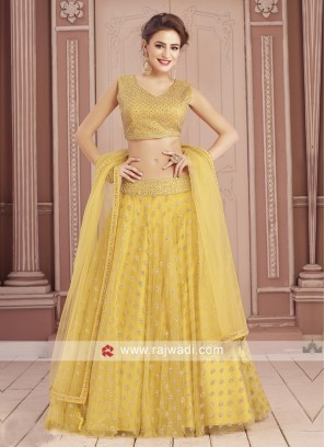 Yellow Stone Work Choli Suit