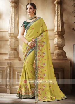 Yellow Stone Work Saree