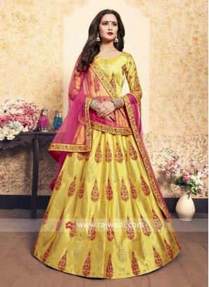 Yellow Unstitched Lehenga Choli