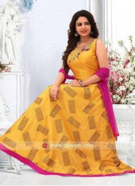 Yellow Wedding Anarkali with Rani Dupatta
